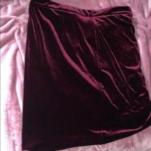 Velvet style Burgundy Asymmetrical Dress